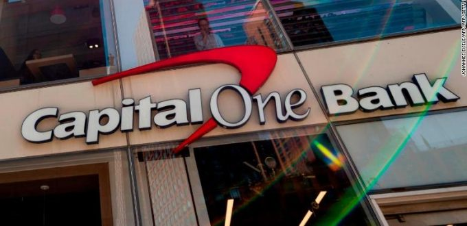 A Capital One bank is pictured on April 17, 2019 in New York City. (Photo by Johannes EISELE / AFP)        (Photo credit should read JOHANNES EISELE/AFP/Getty Images)